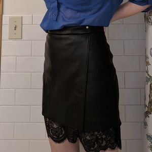Vintage style foux leather skirt with lace detail